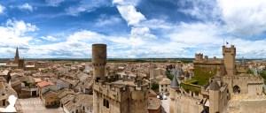 Panorámica del Palacio de Olite y el pueblo de Olite en Navarra