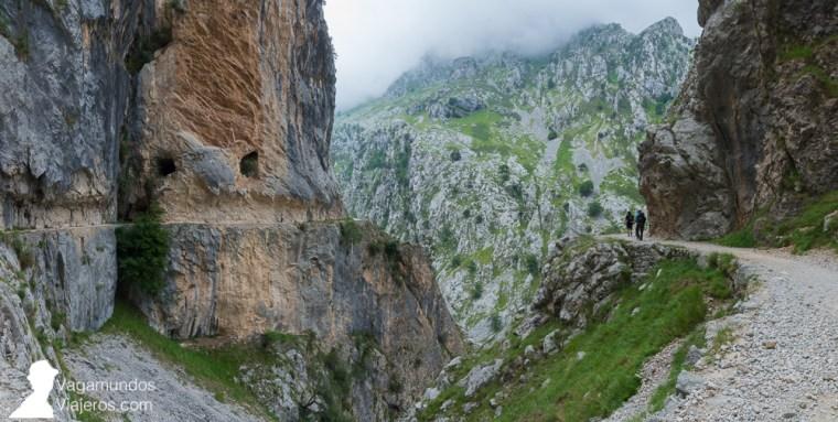 Es impresionante observar cómo el camino está labrado en la roca y las vistas del resto del desfiladero del Cares