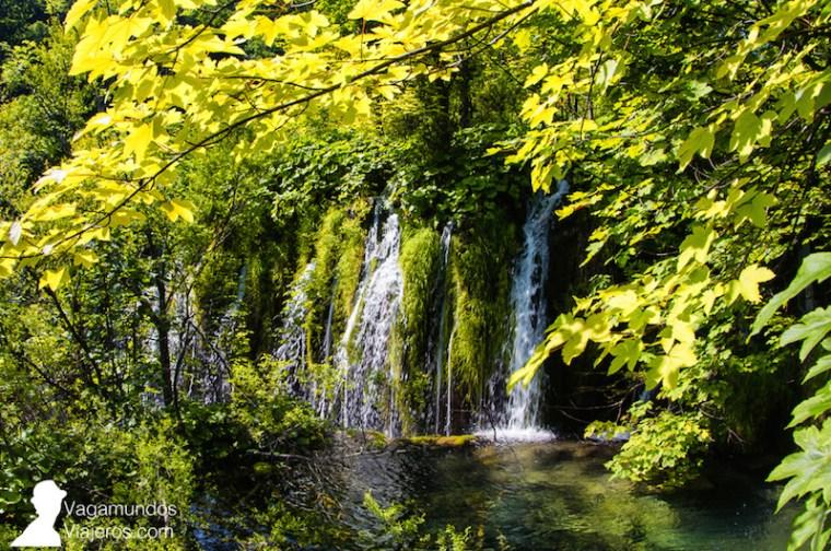 El agua bajaba abundante y con fuerza durante nuestra visita a Plitvice al ser primavera