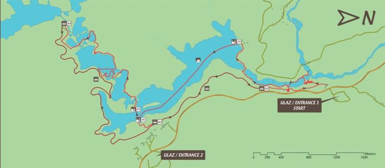 Plano de la ruta C, de 4-6 horas de duración. Es uno de los 8 recorridos posibles dentro del Parque Nacional Plitvice
