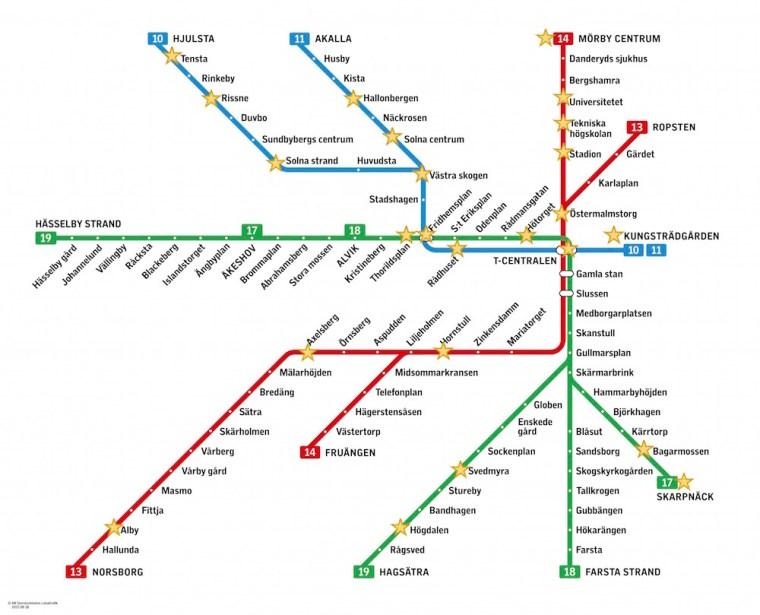Plano del metro de Estocolmo con las principales estaciones artísticas a visitar