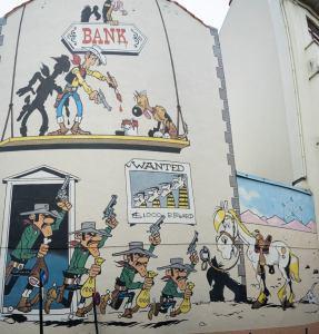 Mural del tebeo Lucky Luke en Bruselas