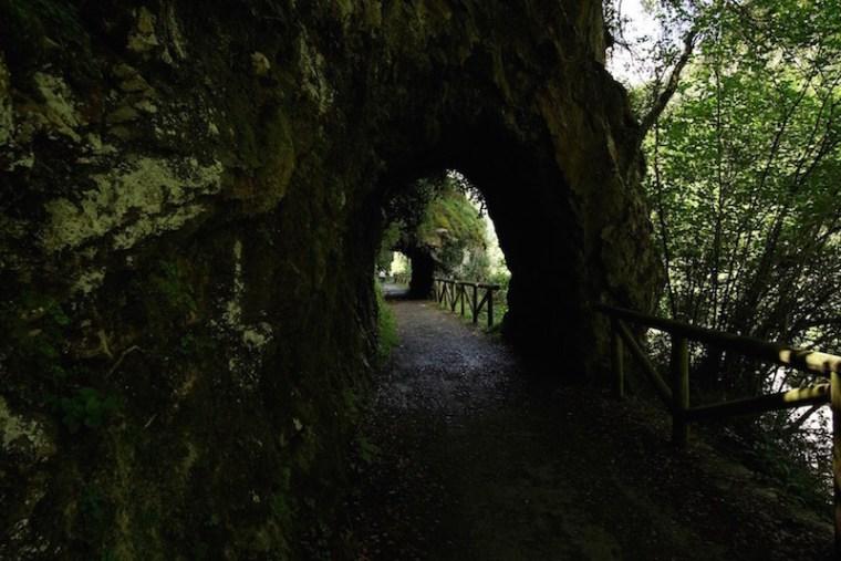 Ante el desuso de esta antigua línea ferrovial, se ha reconvertido en la vía verde de la Senda del Oso