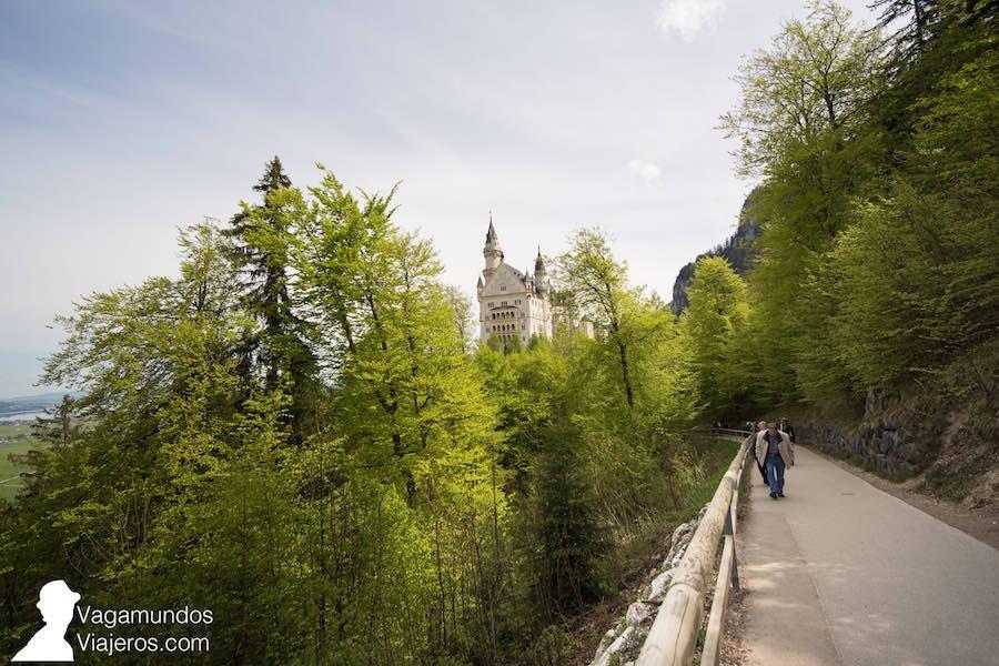 Sendero para ir del castillo Neuschwanstein al puente de Marienbrücke