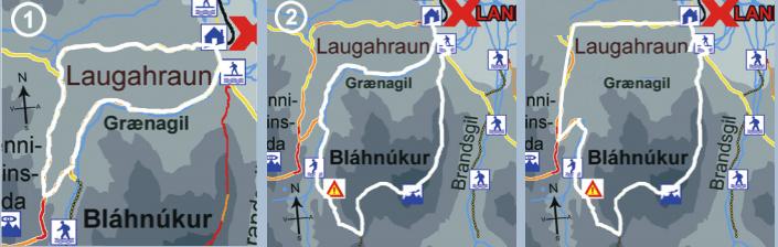 Ruta que hicimos en Landmannalaugar, mezclando la de Brennisteinsalda y la de Blahnjukur