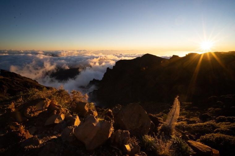 Atardecer en el mirador de Roque de los Muchachos, La Palma