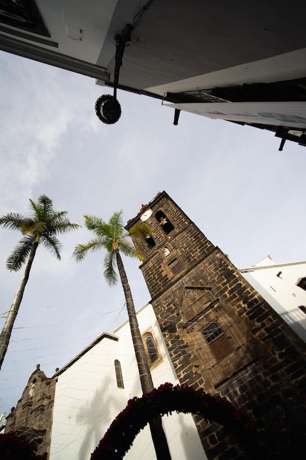 Torre de la iglesia de El Salvador en la Plaza de España de Santa Cruz de La Palma