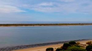 Río Piedras y la Flecha en Huelva, a vista de drone