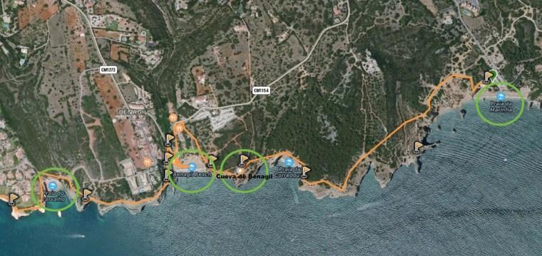 Mapa con la situación de la cueva de Benagil