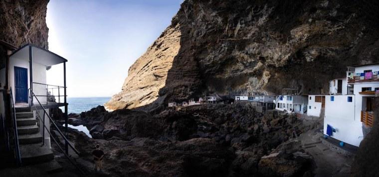Casas blancas y azules de Porís de Candelaria, La Palma