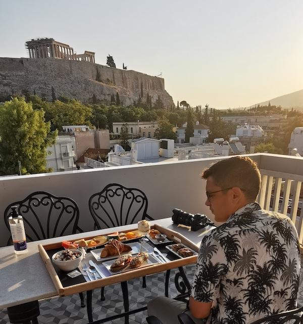 Desayuno en la terraza del Acropolis View Hotel, Atenas