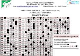 Gabarito Enem Domingo 2013 - Prova Branca