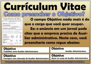 Objetivo no Curriculum - Currículo, Como preencher 01