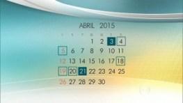 Calendário 2015 - Feriados Nacionais, Quando Caem 01