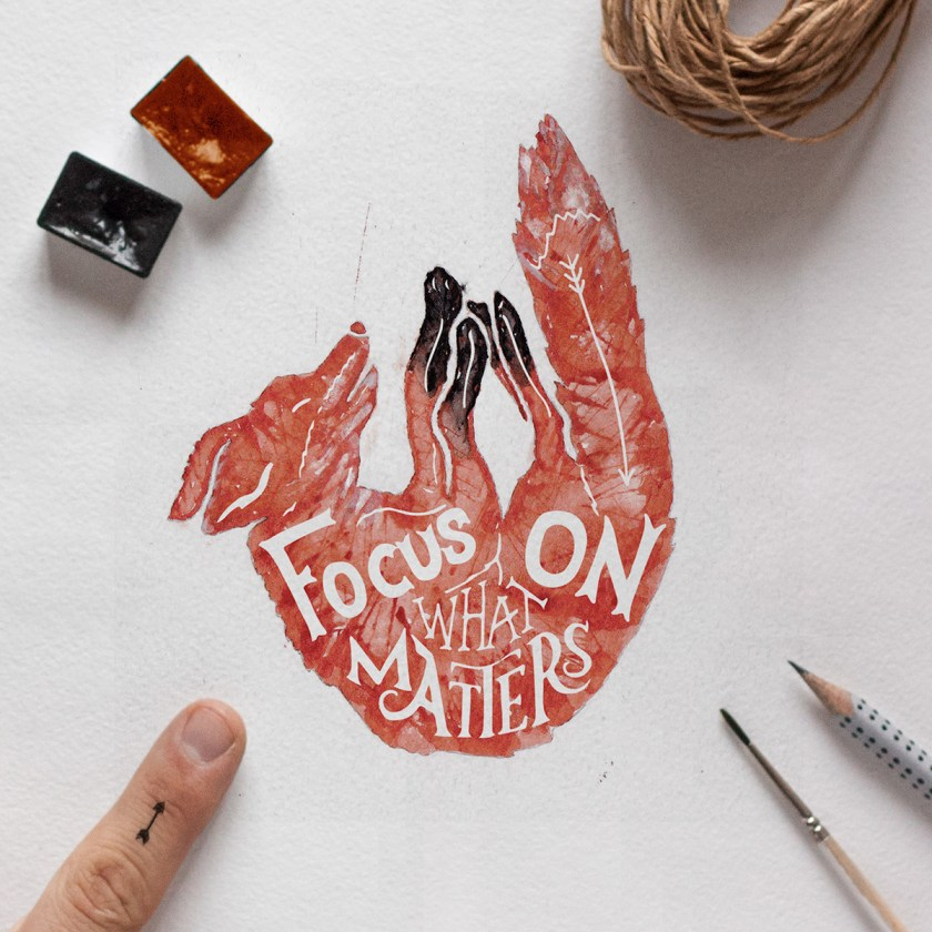 Focus On What Matters lettering calligraphy