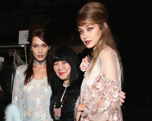 Anna Sui with models Gigi Hadid and Bella Hadid fashion show