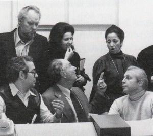 Thomas Stewart, Helen Donath, Tereza Berganza, Wieslaw Ochman during the recording sessions of Beethoven 9