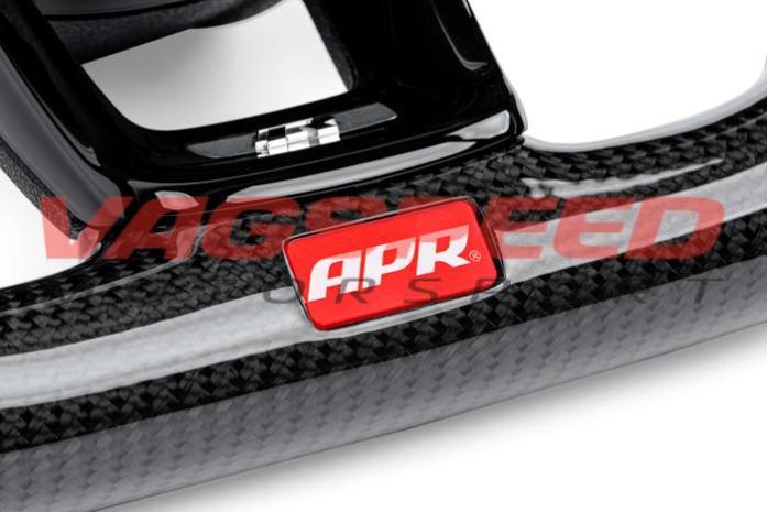 Volante APR de fibra de carbono y cuero perforado con costuras blancas MK7 R DSG