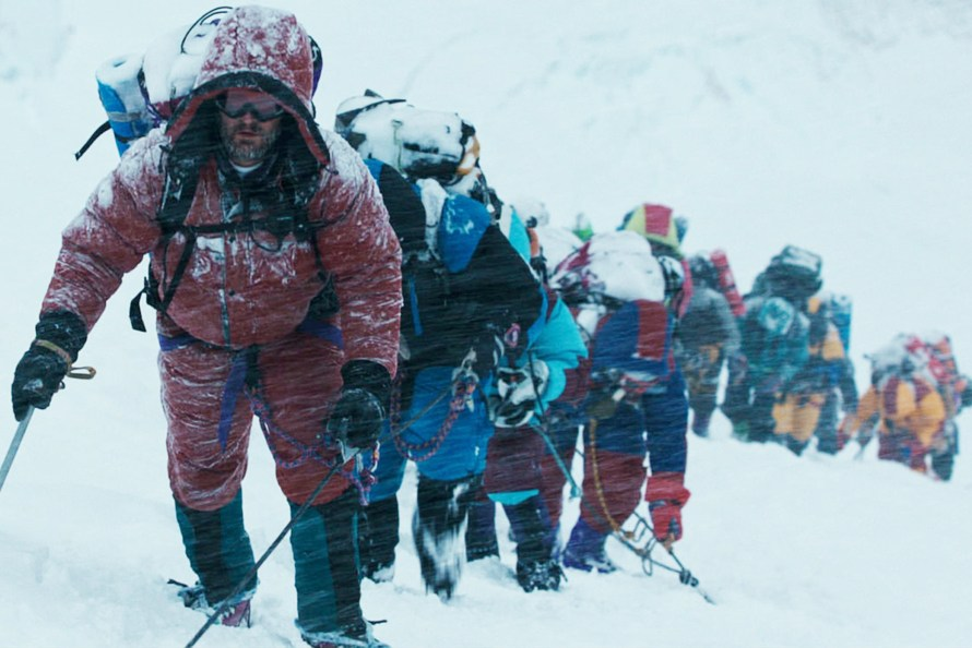 "FILM STILL - EVEREST - Rob Hall (JASON CLARKE) leads the expedition in ""Everest"". Inspired by the incredible events surrounding an attempt to reach the summit of the world's highest mountain, ""Everest"" documents the awe-inspiring journey of two different expeditions challenged beyond their limits by one of the fiercest snowstorms ever encountered by mankind."
