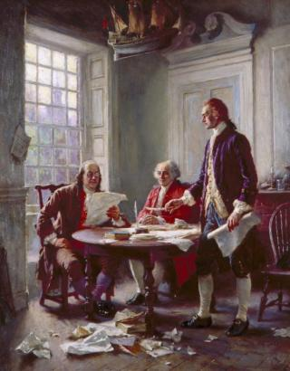 """""""Writing the Declaration of Independence, 1776,"""" by Jean Leon Gerome Ferris. Thomas Jefferson, John Adams, and Benjamin Franklin were named to a committee to prepare a declaration of independence. Jefferson (standing) did the actual writing because he was known as a good writer. Congress deleted Jefferson's most extravagant rhetoric and accusations. (VHS accession number: 1996.49.15)"""