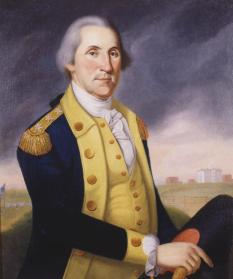 """""""George Washington,"""" Charles Peale Polk, about 1790. This depiction of George Washington (1732–1799) as commander of the Continental army was derived from portraits taken from life by Polk's more famous uncle, Charles Willson Peale. Washington was keenly aware of physical appearance and paid considerable attention to both proper dress and proper demeanor. He said, """"nothing adds more to the appearance of a man than dress."""" Washington concerned himself with the buttons, trimmings, and all manner of details of his uniform. He even powdered his hair to enhance the sense of dignity. (VHS accession number: 1905.10)"""