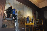 That's me on the lift with Cleo Mullins from Richmond Conservation Studio inspecting the Infantry (Spring) Mural in 2011.