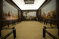 An image of the Cheek Mural Gallery before the original parquet floors were stained.