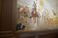 The fallen Union soldier in the Infantry (Spring) mural that before conservation I thought was a rock.