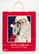 "Miller & Rhoads Holiday Shopping Bag, displays the holiday slogan, ""Where Christmas is a Legend"" (Virginia Historical Society, 2008.142.1)"
