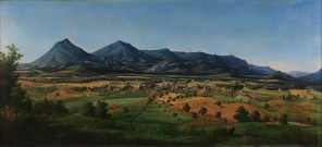 Liberty [Bedford] and the Peaks of Otter, 1855, Edward Beyer, Lora Robins Collection of Virginia Art, 1995.2. In the Piedmont, Thomas Jefferson anticipated the development of market towns like Liberty that were small and close to nature and thereby free of the evils of large urban centers. This agrarian harmony, he reasoned, would provide a beneficial environment for an enlightened populace.