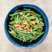 Roasted Brown Butter Ghee Green Beans with Macadamia Nuts