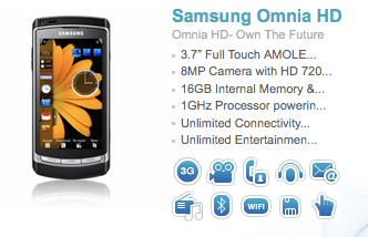 The Samsung Omnia HD Comes To India With A 1GHZ Processor