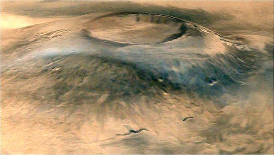 Spectacular 3D view of Arsia Mons, a huge volcano on Mars (courtesy Isro)