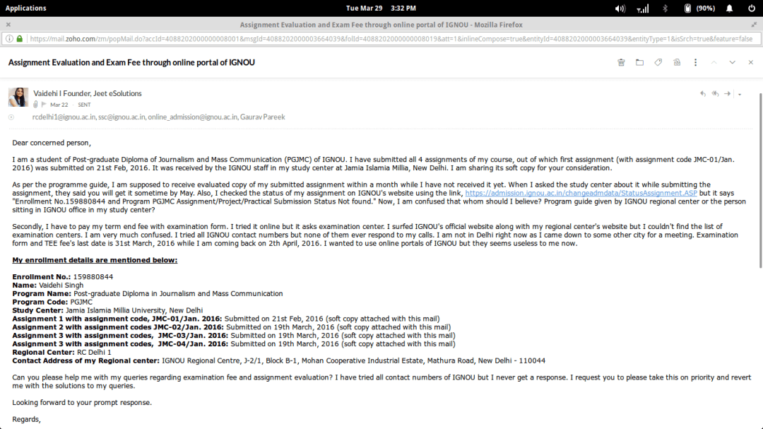 open letter with screenshot of email to RC Delhi 1, IGNOU