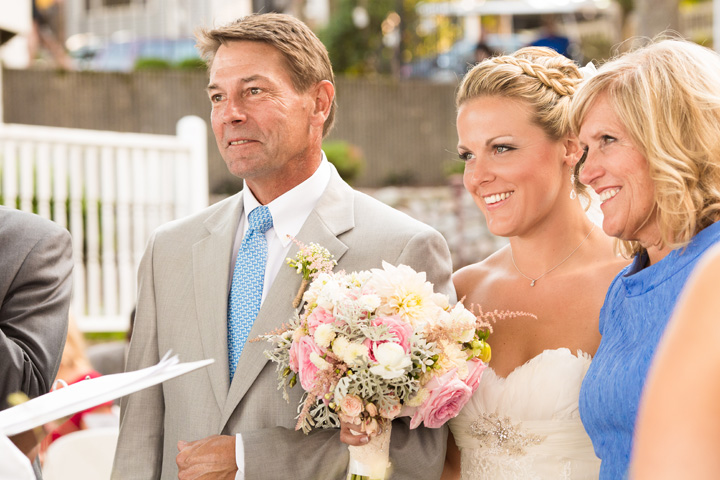 Proper use of Pinterest for Weddings: PINspiration not Imitation -- Bride being given away by her parents.  Shot from behind the officiant.  by Vail Fucci fuccisphotos.com