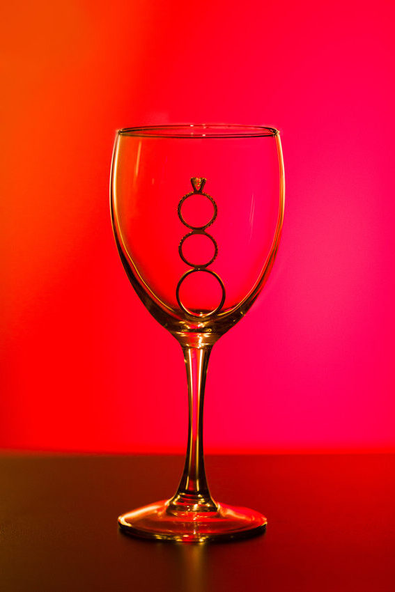 Proper use of Pinterest for Weddings: PINspiration not Imitation - To get a shot like this you need back lighting and dental wax to make the rings stick together Wine Glass Wedding Rings Silhouette by Vail Fucci