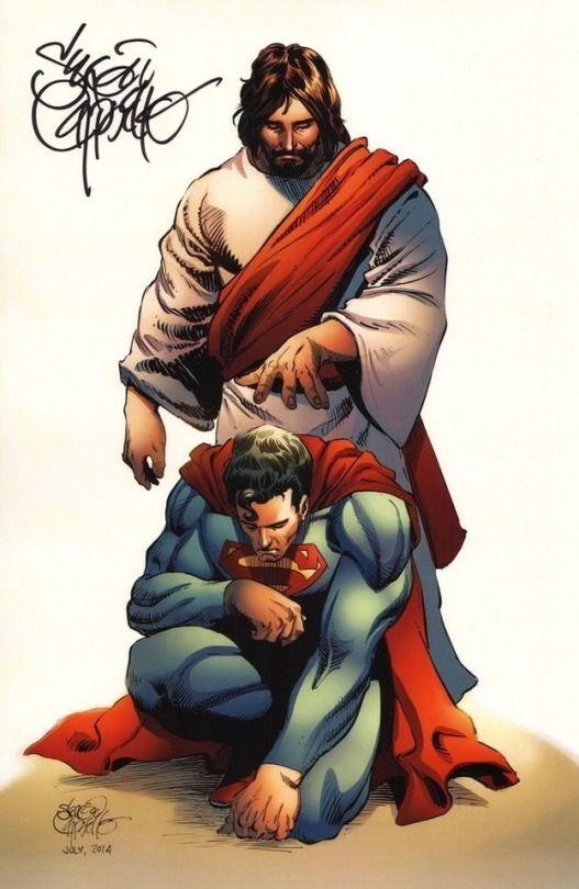 Jesus saving superman