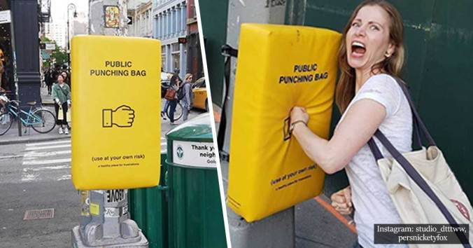 Conscious emotional release - public punching bag
