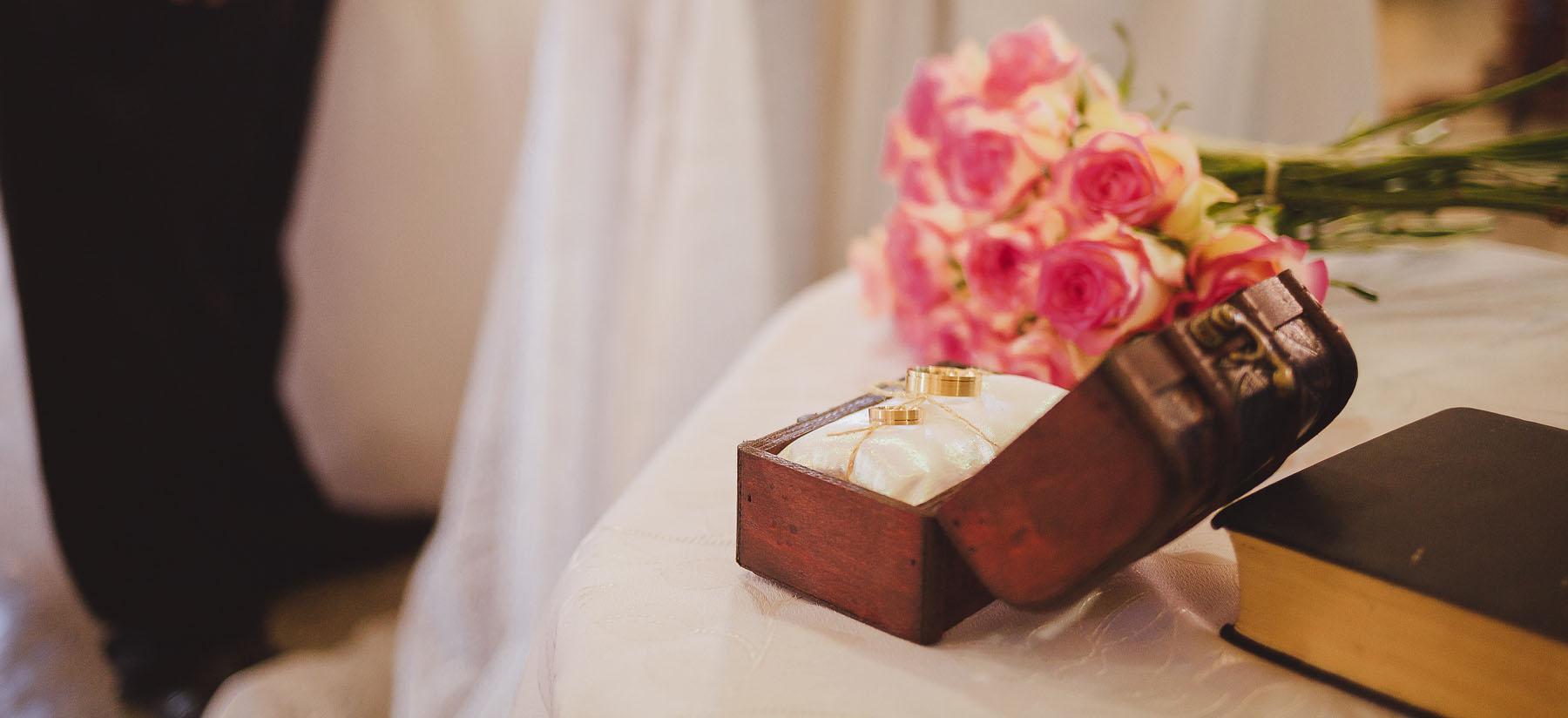 Porta Alianças Baú - Casamento Rústico