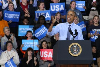 Durham, NH: President Obama addresses the crowd at the Whittemore Center Arena, University of New Hampshire. Photo by Vaishnavee Sharma/ BU News Service.