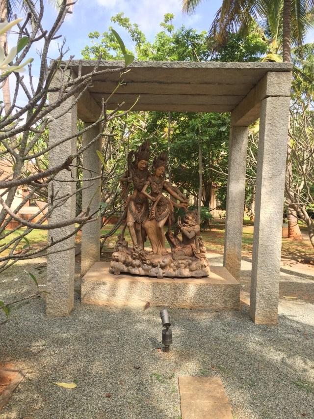 A Nice wooden sculpture of Rama - Sita - Hanuman