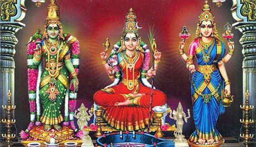 The 3 powerful goddesses are Kanchi Kamakshi , Madurai Meenakshi and Kashi Vishalakshi.