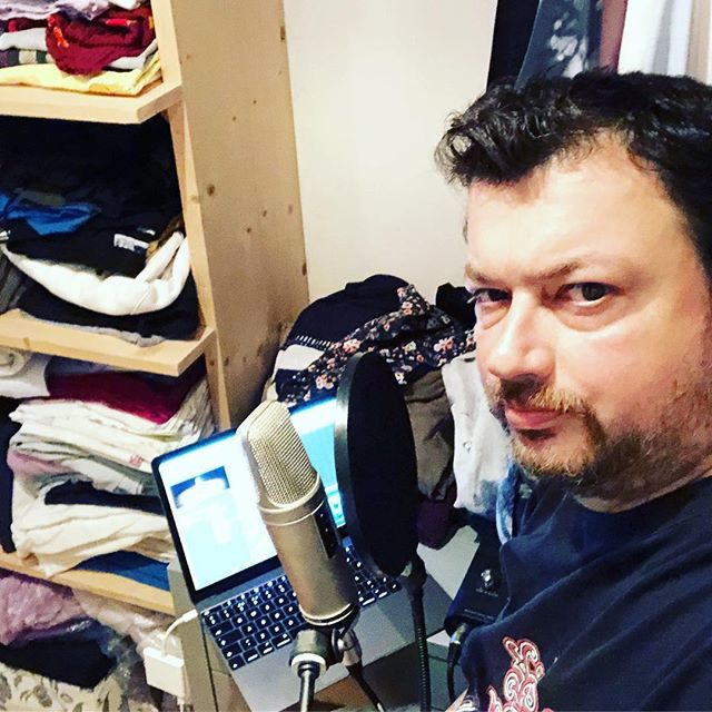 Recording the new episode of the @stateofthenet podcast with @euansemple (found a quiet spot in our wardrobe)