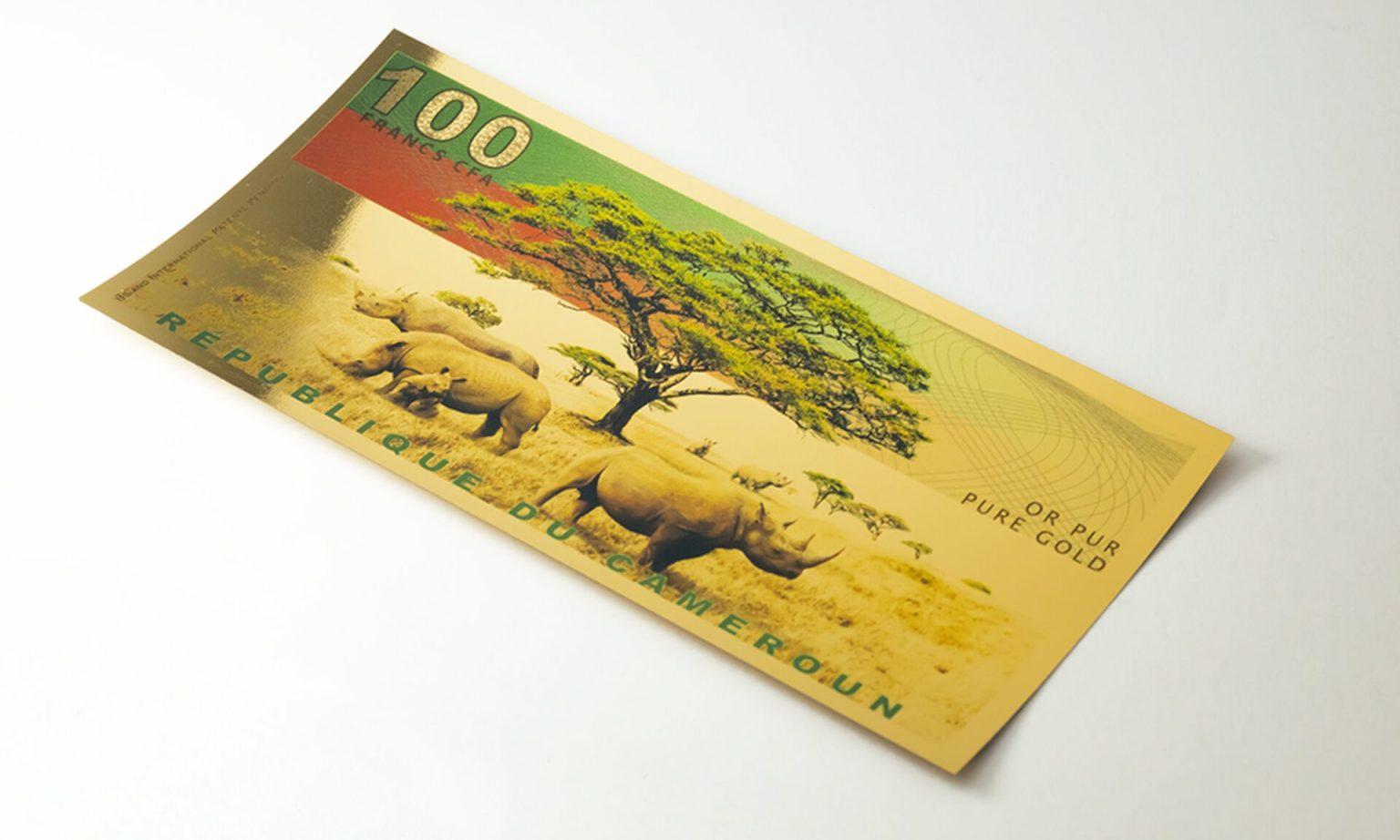 Landscape with rhinos Aurum design for Cameroon