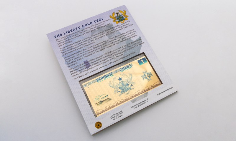 Republic of Ghana 1 Cedi gold note in packaging - Valaurum, Inc.