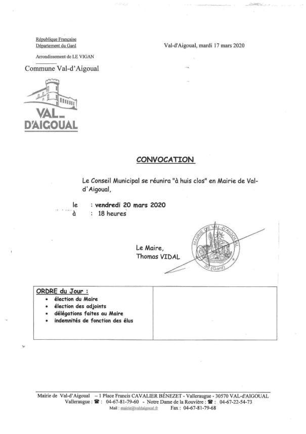 convocation CM du 20 mars
