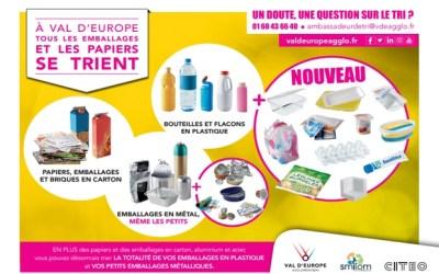 Val d'Europe Agglomération ►Dès le 1er mai, le tri des emballages se simplifie !