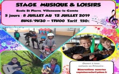 Villeneuve le Comte ► Stage initiation de musique, loisirs sports du 8 au 12 juillet 2019