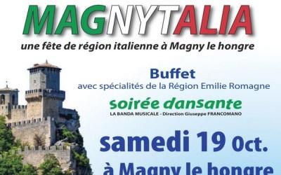 Soirée Magnytalia à la Salle des Fêtes de Magny-le-Hongre samedi 19 octobre