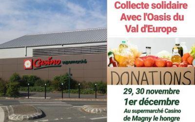 Collecte Alimentaire, l'épicerie solidaire l'Oasis du Val d'Europe a besoin de vous !